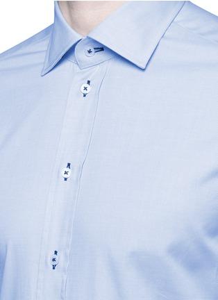 Detail View - Click To Enlarge - Armani Collezioni - Contrast dobby stripe cotton shirt