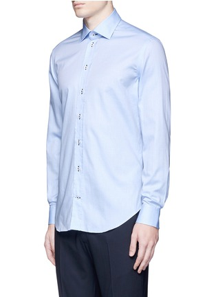 Front View - Click To Enlarge - Armani Collezioni - Contrast dobby stripe cotton shirt