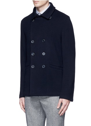 Front View - Click To Enlarge - Armani Collezioni - Wool blend flannel peacoat