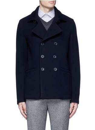 Main View - Click To Enlarge - Armani Collezioni - Wool blend flannel peacoat