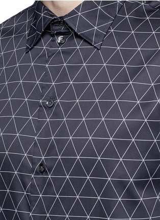 Detail View - Click To Enlarge - Armani Collezioni - Diamond print cotton shirt