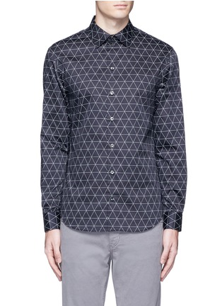 Main View - Click To Enlarge - Armani Collezioni - Diamond print cotton shirt