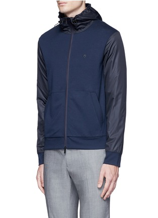 Front View - Click To Enlarge - Armani Collezioni - Tech fabric sleeve and hood blouson jacket