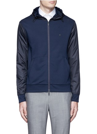 Main View - Click To Enlarge - Armani Collezioni - Tech fabric sleeve and hood blouson jacket