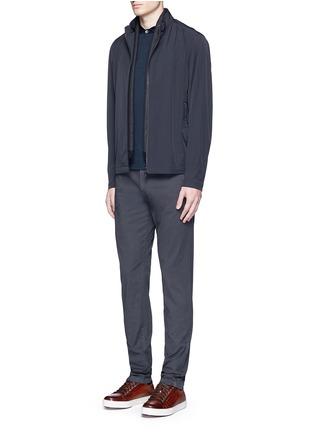 Figure View - Click To Enlarge - Armani Collezioni - Velvet collar slim fit polo shirt