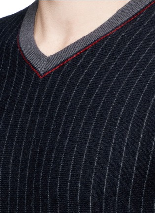 Detail View - Click To Enlarge - Armani Collezioni - Pinstripe cashmere sweater