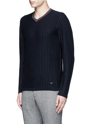 Front View - Click To Enlarge - Armani Collezioni - Pinstripe cashmere sweater
