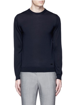 Main View - Click To Enlarge - Armani Collezioni - Wool crew neck sweater