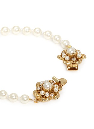 Detail View - Click To Enlarge - Miriam Haskell - Swarovski crystal glass pearl floral clasp bracelet