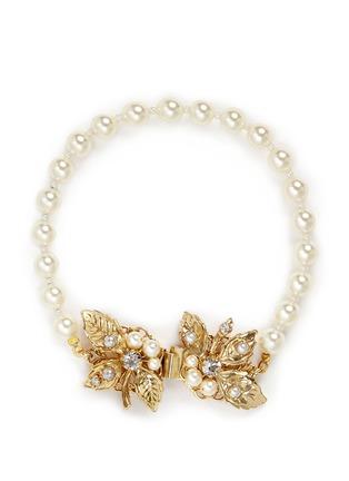 Main View - Click To Enlarge - Miriam Haskell - Swarovski crystal leaf filigree glass pearl bracelet
