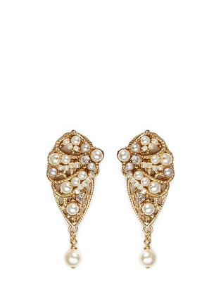 Main View - Click To Enlarge - Miriam Haskell - Crystal glass pearl leaf filigree drop earrings