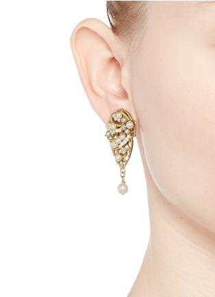 Figure View - Click To Enlarge - Miriam Haskell - Crystal glass pearl leaf filigree drop earrings