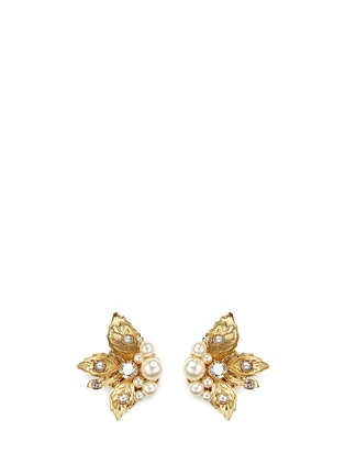 Main View - Click To Enlarge - Miriam Haskell - Crystal glass pearl three leaf stud earrings