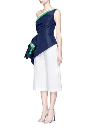 Front View - Click To Enlarge - Rosie Assoulin - 'O'Keefe' asymmetric ruffle one-shoulder silk faille top