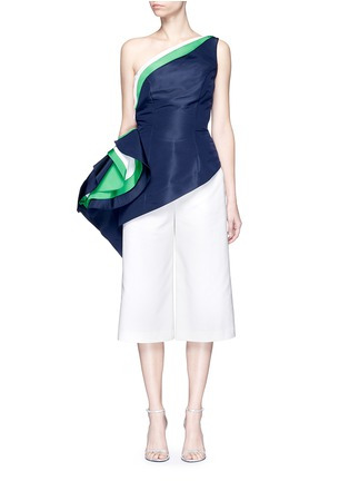 Main View - Click To Enlarge - Rosie Assoulin - 'O'Keefe' asymmetric ruffle one-shoulder silk faille top