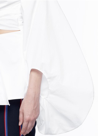 Detail View - Click To Enlarge - 72722 - Fig sleeve cutout tie front poplin top