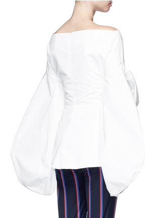 Back View - Click To Enlarge - Rosie Assoulin - Fig sleeve cutout tie front poplin top