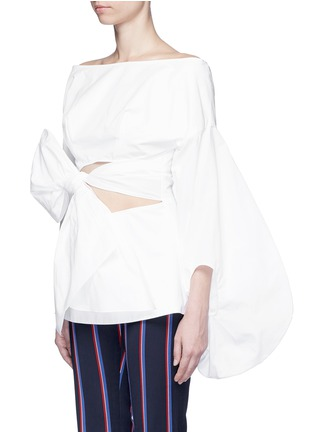 Front View - Click To Enlarge - 72722 - Fig sleeve cutout tie front poplin top