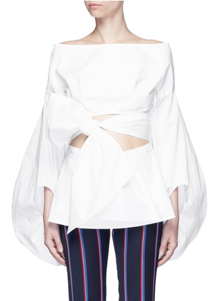 Main View - Click To Enlarge - 72722 - Fig sleeve cutout tie front poplin top