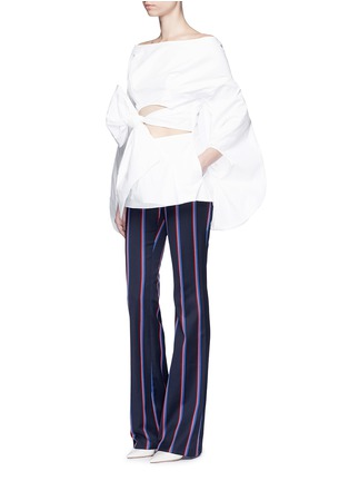 Figure View - Click To Enlarge - Rosie Assoulin - Fig sleeve cutout tie front poplin top