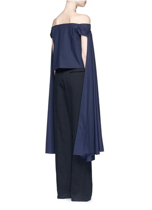 Back View - Click To Enlarge - Rosie Assoulin - 'Helicopter' long sash off-shoulder cotton poplin top