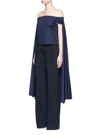 Front View - Click To Enlarge - Rosie Assoulin - 'Helicopter' long sash off-shoulder cotton poplin top