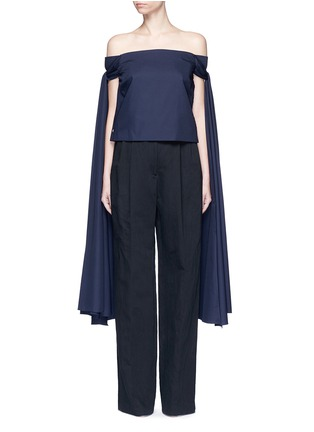 Main View - Click To Enlarge - Rosie Assoulin - 'Helicopter' long sash off-shoulder cotton poplin top