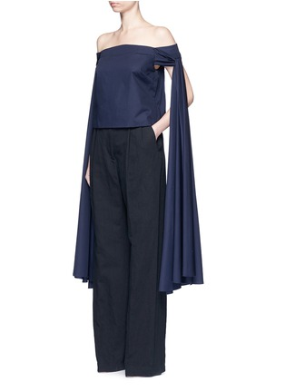 Figure View - Click To Enlarge - Rosie Assoulin - 'Helicopter' long sash off-shoulder cotton poplin top