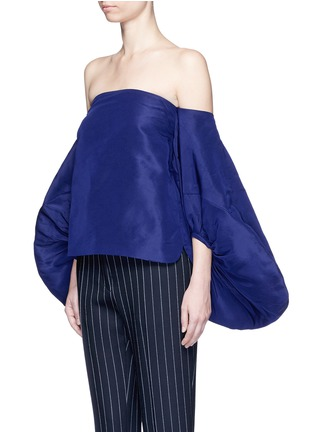 Front View - Click To Enlarge - 72722 - Balloon sleeve silk faille off-shoulder top