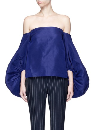 Main View - Click To Enlarge - 72722 - Balloon sleeve silk faille off-shoulder top
