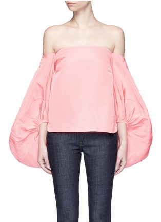 Main View - Click To Enlarge - Rosie Assoulin - Balloon sleeve silk faille off-shoulder top