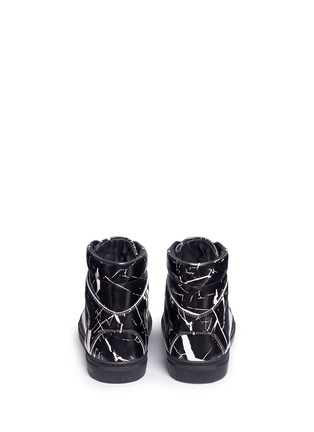 Back View - Click To Enlarge - BALENCIAGA - Marble print leather high top sneakers