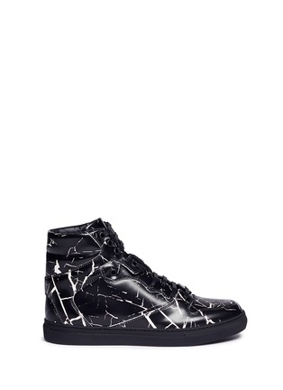 Main View - Click To Enlarge - BALENCIAGA - Marble print leather high top sneakers