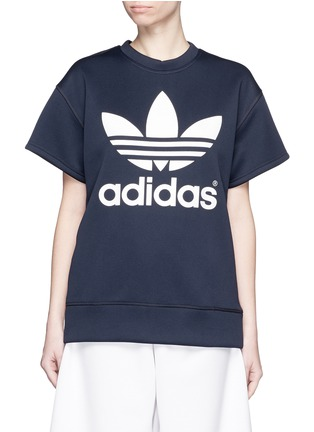 Main View - Click To Enlarge - ADIDAS X HYKE - 'HY SSL' Trefoil logo print boxy sweatshirt