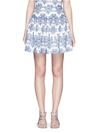 Main View - Click To Enlarge - Nicholas - Floral embroidery ruffle cotton skirt