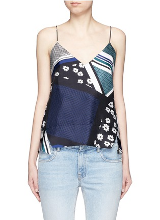 Main View - Click To Enlarge - Nicholas - Scarf colourblock print camisole