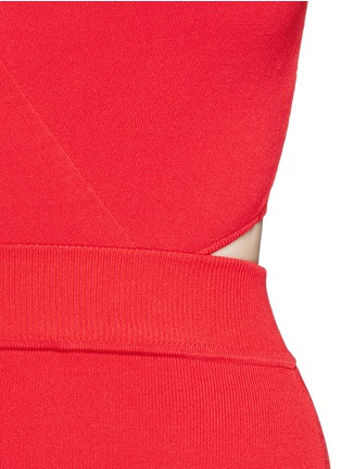 Detail View - Click To Enlarge - Nicholas - Crisscross wrap front cutout back knit midi dress