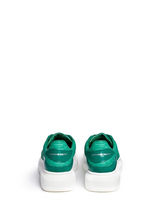Back View - Click To Enlarge - ALEXANDER MCQUEEN - Chunky outsole python trim leather sneakers