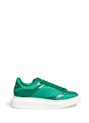 Main View - Click To Enlarge - ALEXANDER MCQUEEN - Chunky outsole python trim leather sneakers