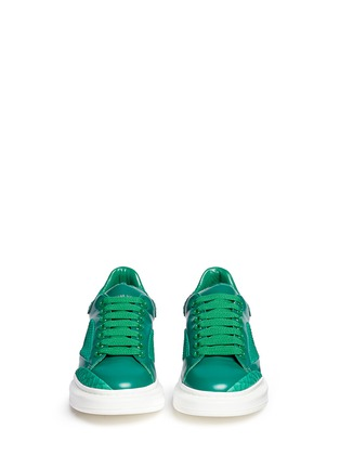 Figure View - Click To Enlarge - ALEXANDER MCQUEEN - Chunky outsole python trim leather sneakers