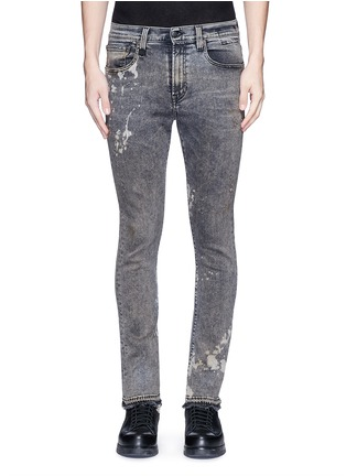 Detail View - Click To Enlarge - R13 - 'Skate' bleach stain frayed jeans