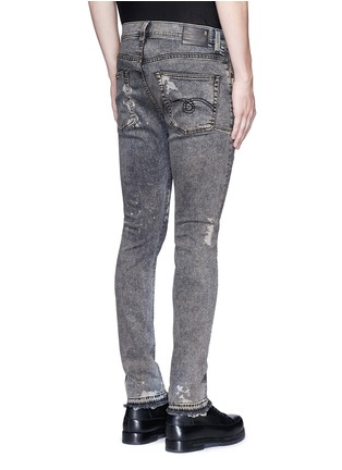 Back View - Click To Enlarge - R13 - 'Skate' bleach stain frayed jeans