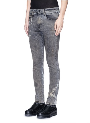 Front View - Click To Enlarge - R13 - 'Skate' bleach stain frayed jeans