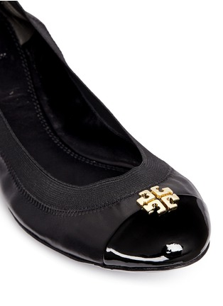 Detail View - Click To Enlarge - Tory Burch - 'Jolie' patent toe cap leather ballerina flats