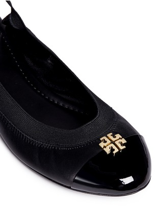 Detail View - Click To Enlarge - Tory Burch - 'Jolie' patent toe cap slingback ballerina flats