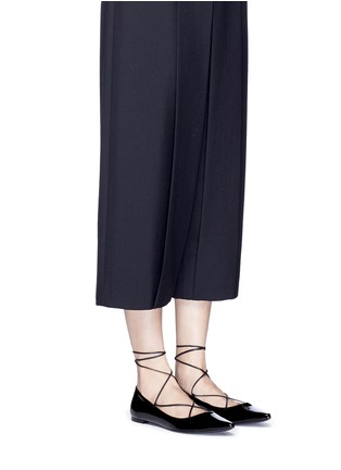 Figure View - Click To Enlarge - Kate Spade - 'Genie' patent leather lace-up flats