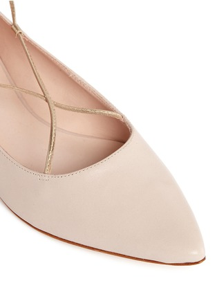 Detail View - Click To Enlarge - Kate Spade - 'Genie' metallic lace-up leather flats
