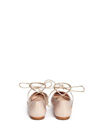 Back View - Click To Enlarge - Kate Spade - 'Genie' metallic lace-up leather flats