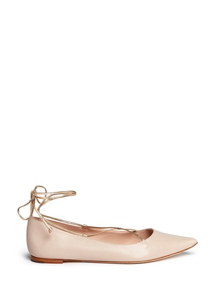 Main View - Click To Enlarge - Kate Spade - 'Genie' metallic lace-up leather flats