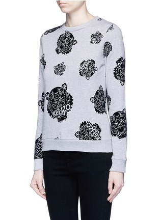 Front View - Click To Enlarge - KENZO - 'Multi Tiger' flocked velvet sweatshirt